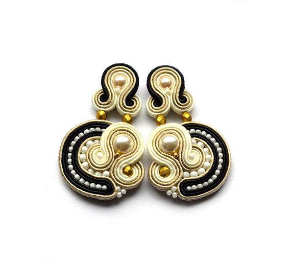 High fashion soutache earrings elegant pearls black beige ecru antic gold…
