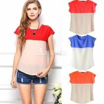Women Summer New Candy Matched Color Loose Casual Tops Blouses Shirt Vest S/M/L