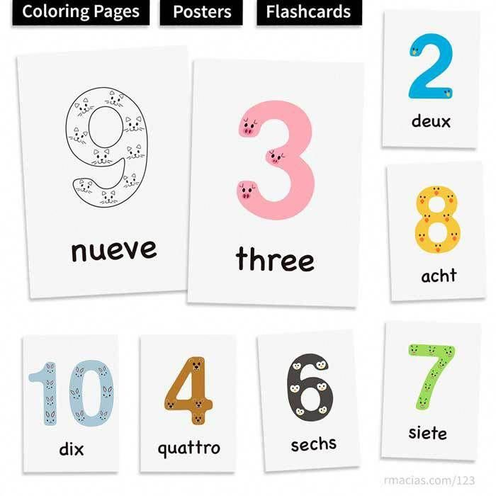 1 10 Animal Numbers For Kids Free Multilingual Numbers Printables Bundle Individual Posters Flashcards And Colo Numbers For Kids Learn Portuguese Flashcards