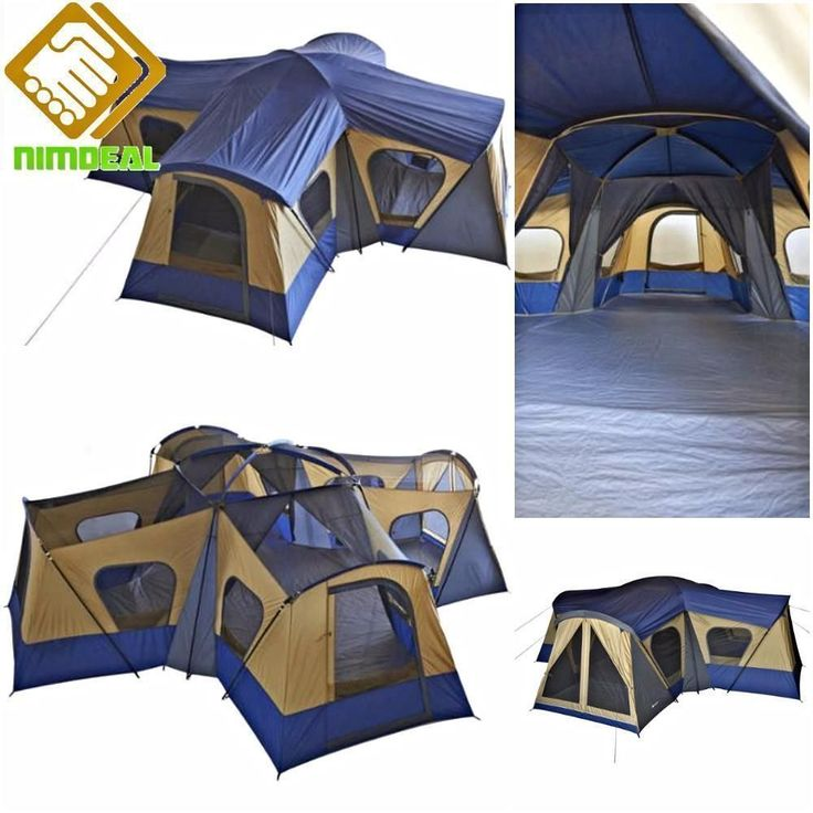 BASE CAMP TENT Huge Family Cabin 4 Dome Rooms 14 Person Hiking Camping Fishing