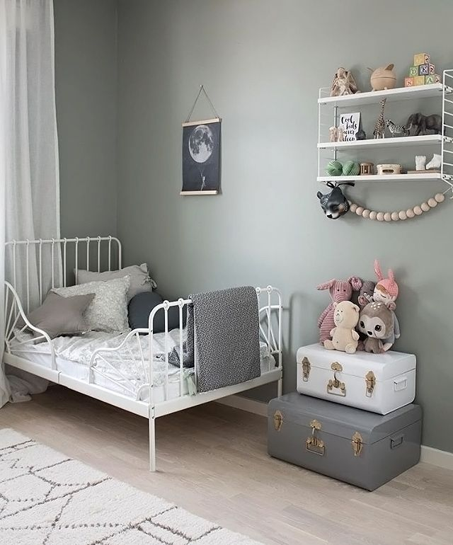 Love this beautiful child's room! String Pocket shelf available online.