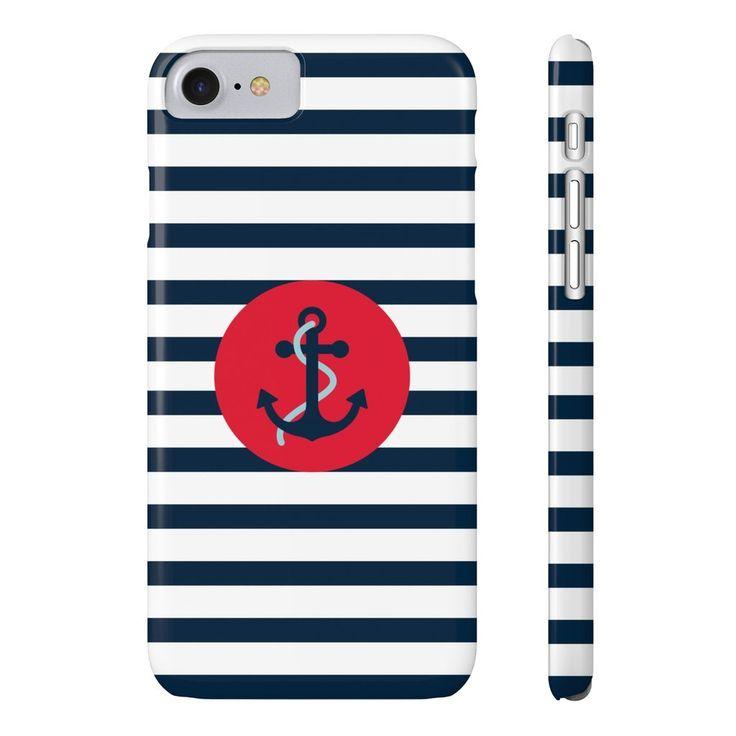 Navy Striped Anchor Phone Case