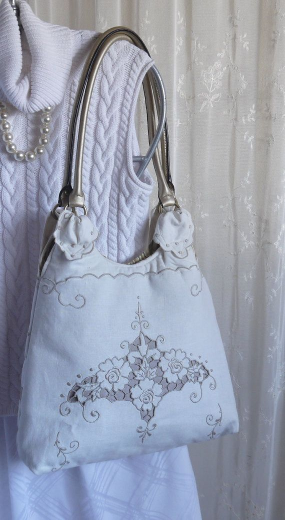 Purse Repurposed Embroidered Table Runner Bag Again by BagAgain, $40.00