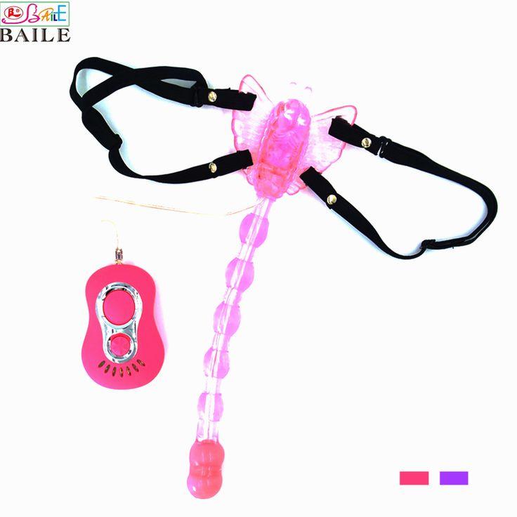 Baile 7 snelheden riem op vlinder vibrator dildo clitoris en anale vibrator speeltjes voor vrouwen, vibrerende Anale Plug Sex Producten