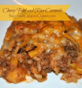 1lb ground beef 1 onion, diced 2 tsp garlic powder 1 small can tomato sauce 1 cup frozen or 1 can corn (or a veggie of your choosing) 1 cup cooked rice 1/2 cup chicken broth 2 cups shredded cheddar cheese, divided salt, pepper, oregano