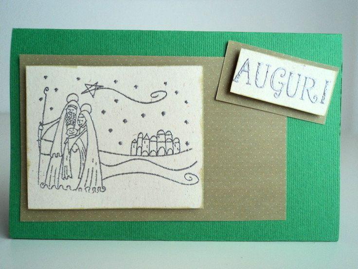 Biglietto auguri Natale, da mensola, verde con presepe argento, by Scartabella, 4,00 € su misshobby.com