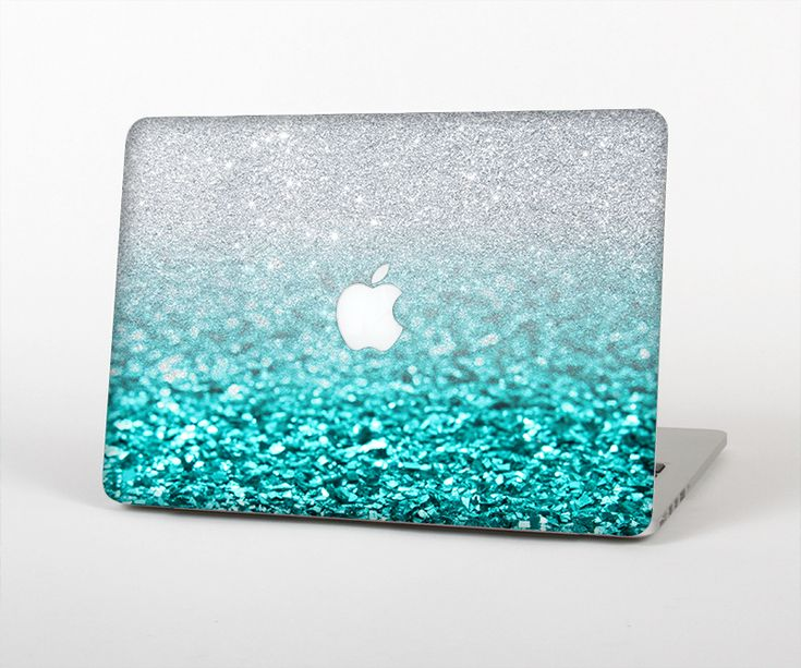 "The Aqua Blue & Silver Glimmer Fade Skin Set for the Apple MacBook Air 13"""