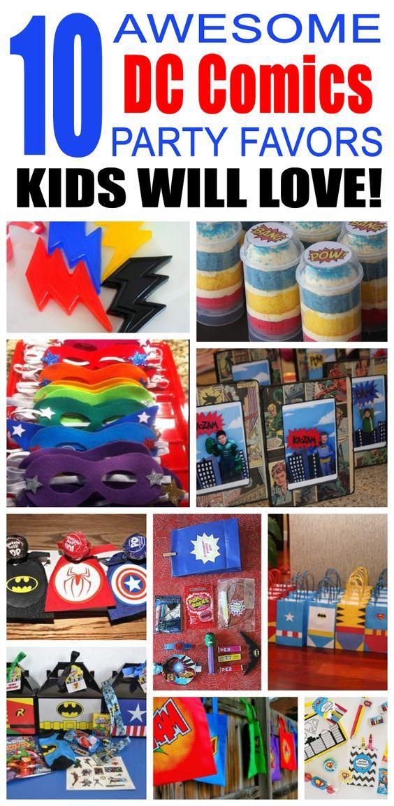 Dc Comics Party Favor Ideas 4 Year Olds Pinterest Comic Party