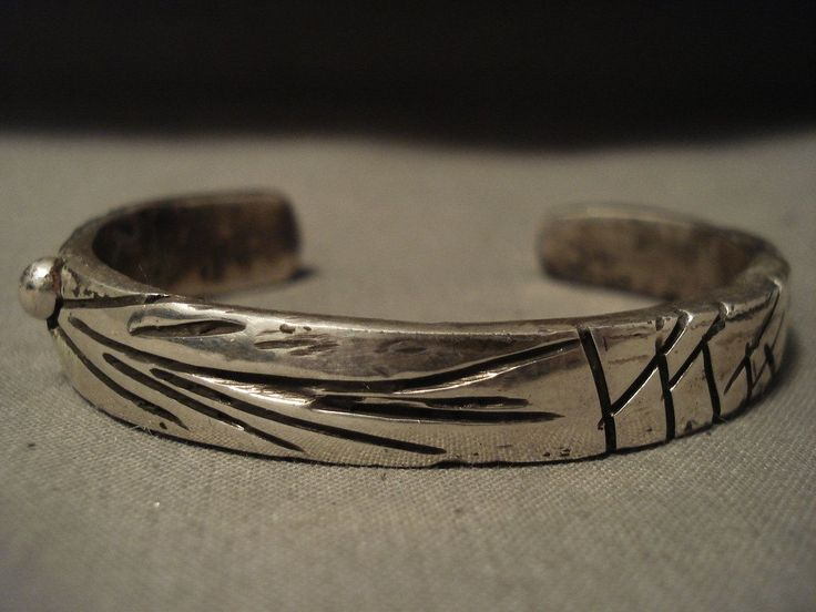 Important Vintage Navajo Jimmie King Jr Silver Ingot Hand Pounded Bracelet