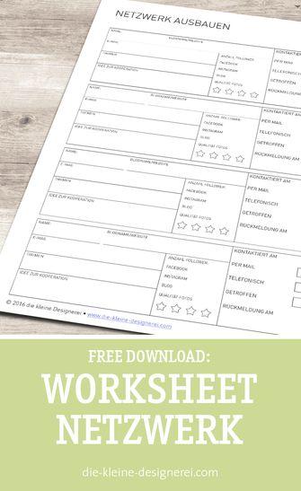 Free Download für ein Arbeitsblatt zum Netzwerken, nützlich für Blogger und die Suche nach Kooperationen. www.die-kleine-designerei.com