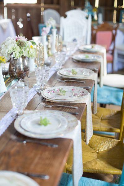Vintage dinner plates, lace runner...