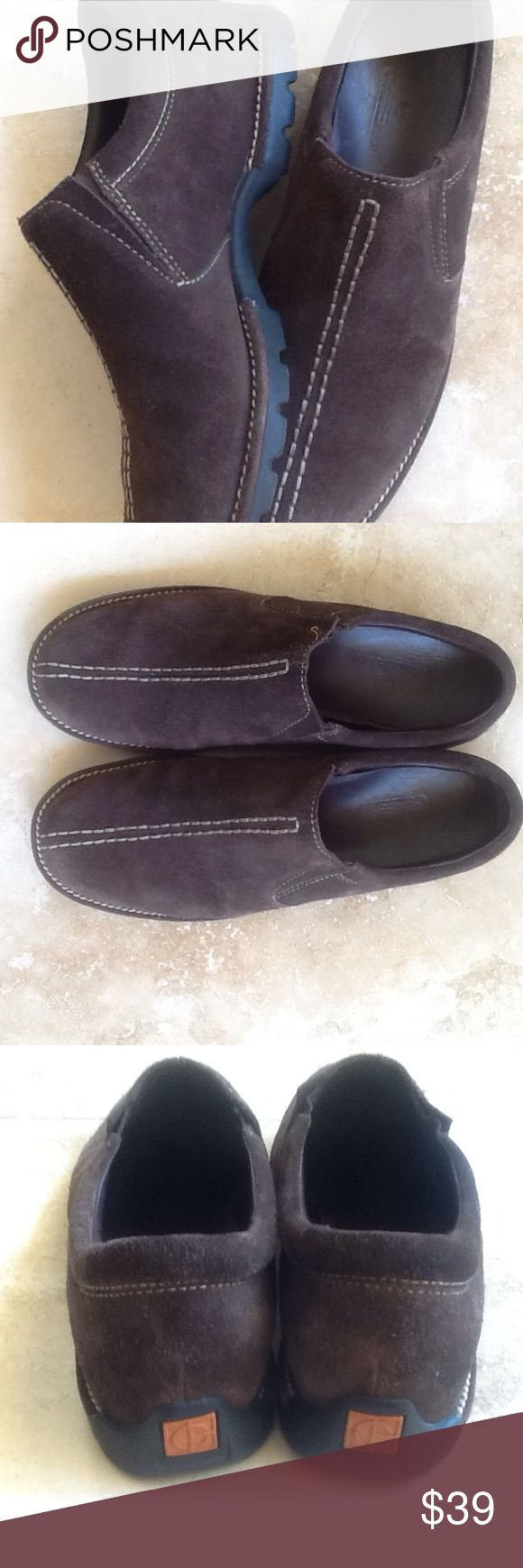 Cole Hann Suede Waterproof Slip-ons Brown suede slip- ons by Cole Hann. Heavy rubber bottoms. Waterproof. EUC. Only one small area with a stitch missing as see imposture 8. Great fall or winter shoe. Cole Haan Shoes Flats & Loafers