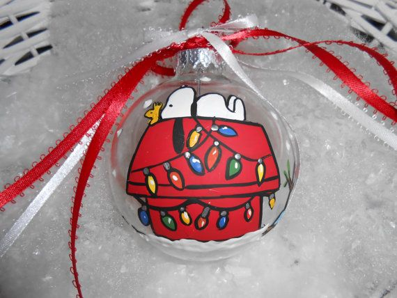 "peanuts snoopy on his christmas decorated dog house  3""  glass ornament hand painted"