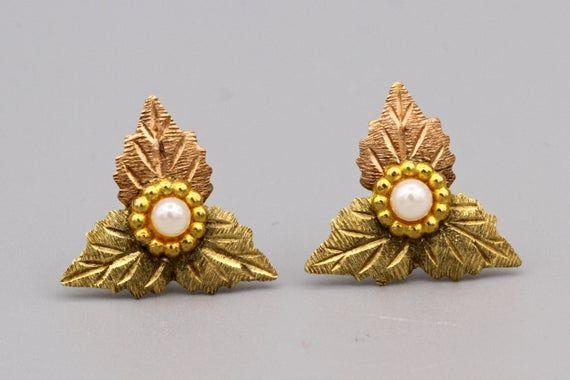 Moonstone gemstone earrings post stud pierced vintage fashion mid century