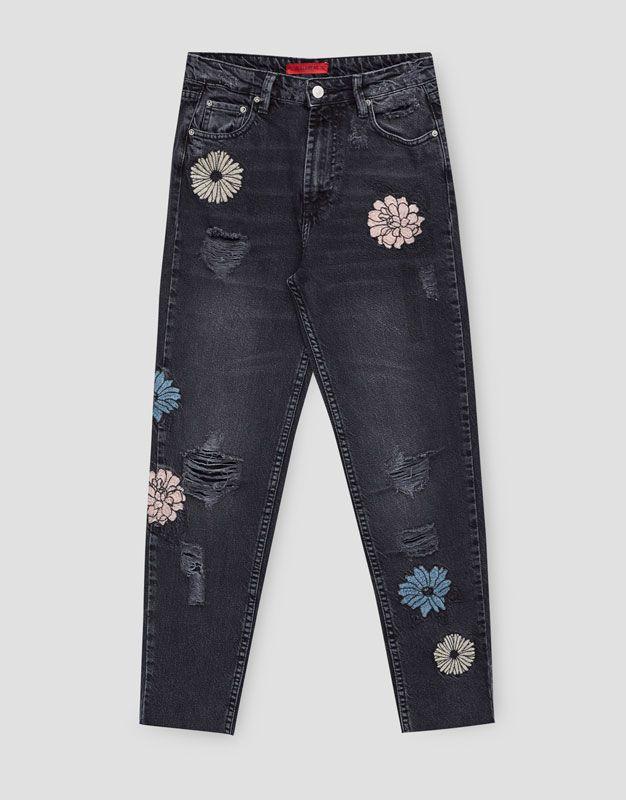 Mom fit jeans met bloemen - Denim Collection - DENIM - HIDDEN - PULL&BEAR Netherlands