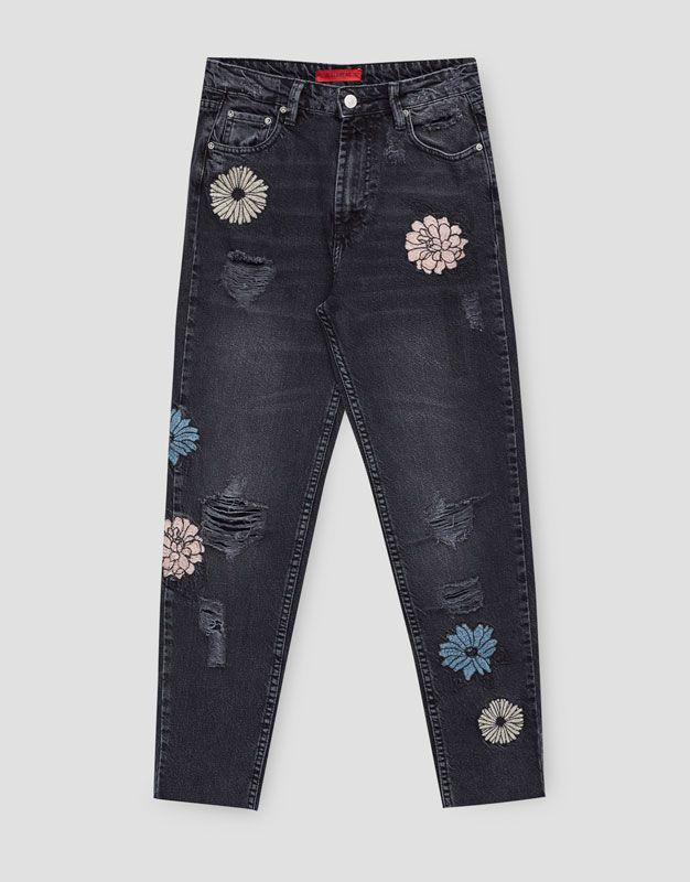 Mom fit jeans met bloemen - Denim Collection - DENIM - HIDDEN - PULL&BEAR Netherlands