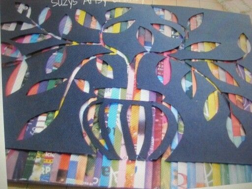 A stencil over wrapping paper or magazine strips