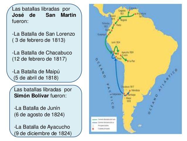 Las batallas libradas por Simón Bolívar fueron: -La Batalla de Junín (6 de agosto de 1824) -La Batalla de Ayacucho (9 de d...