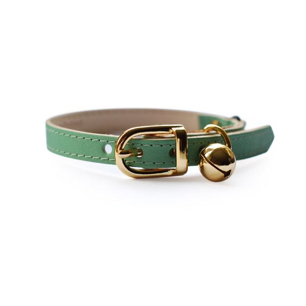 Leather Cat Collar - Baby Green