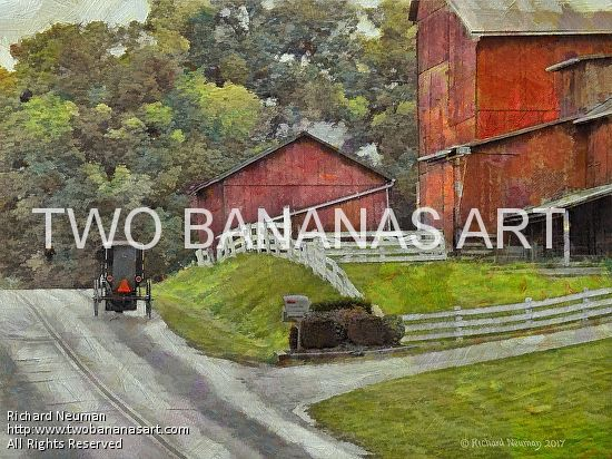 #218 AMISH FAMILY GOING HOME Limited edition of ten 18x24 prints. $185.00 Painting by Two Bananas Art artist Richard Neuman. Inspired by a photo he took in Holmes County, Ohio. Each giclee print is digitally signed, dated, numbered, with a certificate of authenticity. Your gallery wrapped, stretched canvas print is ready to hang. SHIPPED FREE! #art #architecture #colorful #semi #abstract #amish #landscape #print