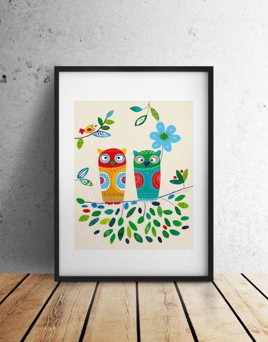 obrazy i inne - rysunek-SOWY Ilustrowany plakat, sowa, ilustracja 48x68