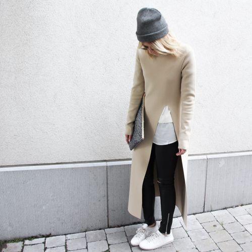 Long knitted split dress