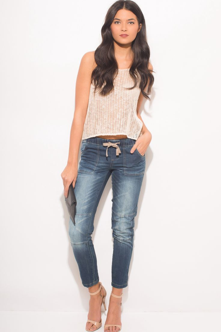 OVERNIGHT | navy blue washed denim pocketed skinny ankle jogger pants jeans - 1015store.com