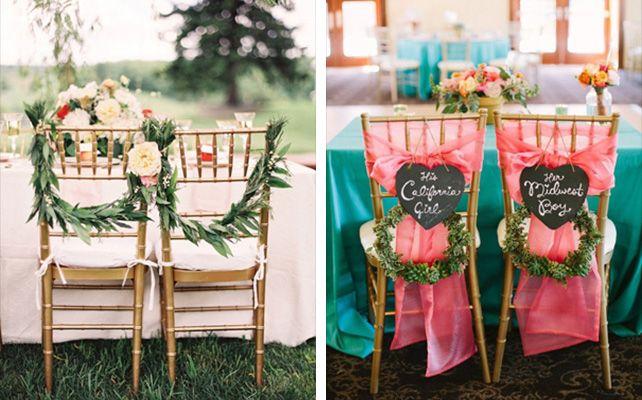 Декор стульев: живые цветы, листья