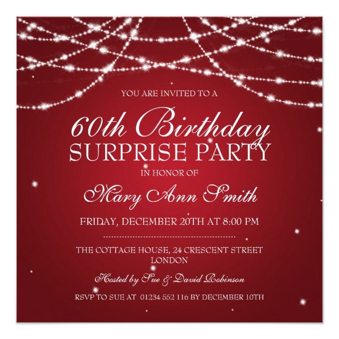 1404 best 60th birthday invitations images on pinterest 60th surprise birthday party string of stars red card stopboris Gallery