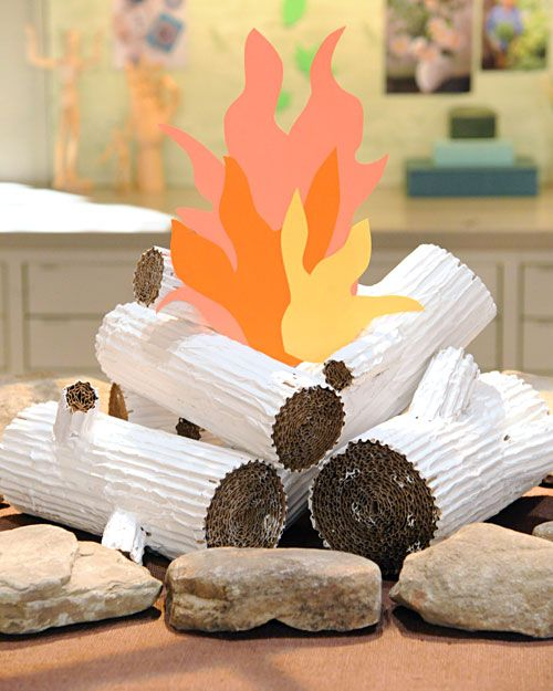 Cardboard Faux Logs - Martha Stewart Crafts - great for a camping themed display!