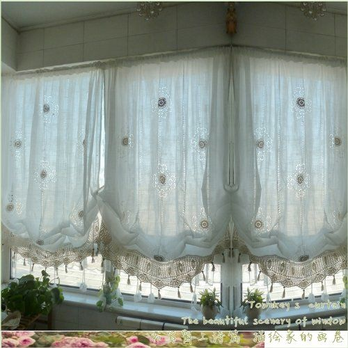 Hughapy® Pastoral Style Adjustable Balloon Curtain Manual Hook Flower Shade  Curtains For Living Room Bedroom