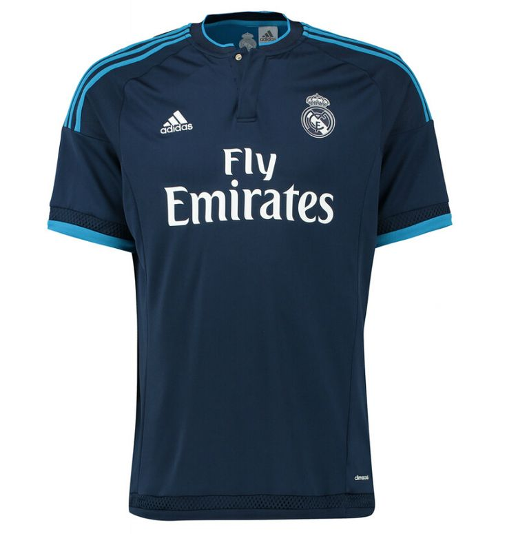 The Adidas Real Madrid 2015-16 Third Shirt features a classic design with two tones of blue, inspired by Madrid's night sky. Set to be worn in the 2015-16 Champions League and La Liga, the new Real Madrid 15-16 Third Kit was revealed on August 27, 2015.