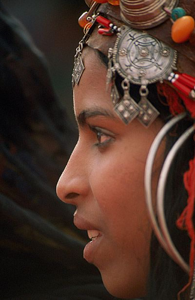 Morocco, beautiful Berber girl in traditional festive clothes...  www.asilahventures.com