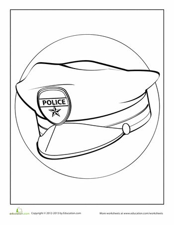 Police Hat Coloring Page Worksheets Fireman Hat Coloring Page 2