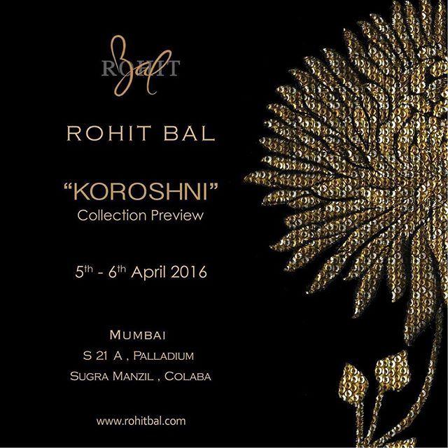 rohitbal_: 'Koroshni' by Rohit Bal exclusively available at Rohit Bal Palladium & Colaba stores (Mumbai) on 5th-6th April 2016. #rohitbal #LakmeFashionWeek #collection #Koroshni #exclusive #preview #colaba #palladium #mumbai #stores #today #and #tomorrow #shop #rohitbalcouture www.rohitbal.com