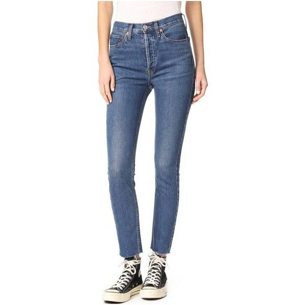Re/Done High Rise Ankle Crop Jeans (4,335 MXN) ❤ liked on Polyvore featuring jeans, dark, blue jeans, high rise jeans, cuffed skinny jeans, high waisted jeans and cropped skinny jeans