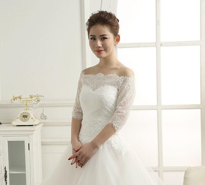 in stock half sleeve lace wedding jackets white bolero mariage bolero blanc in wedding jackets - Bolero Mariage Blanc