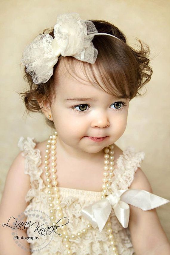 Ivory Cream Lace Bow Headband Dressy baptism Christmas holiday Fancy Girls baby toddler babies  Vintage Boutique Photography Prop