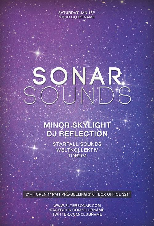 Free Flyer Template: Sonar Sound Minimal Electro Template - http://www.ffflyer.com/free-flyer-template-sonar-sound-minimal-electro-template/ Sonar Sounds – This flyer template was designed to promote electro and EDM events. It's perfect for your next minimal, electro, dub step, techno, trance, house party and club event. This print ready premium flyer template includes a 300 dpi print ready CMYK file. All main elements are editable and customizable. #Club, #Edm, #Ho