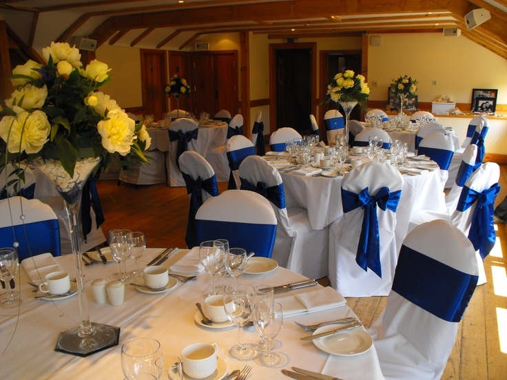 Royal Blue satin Bows on White Chair Covers
