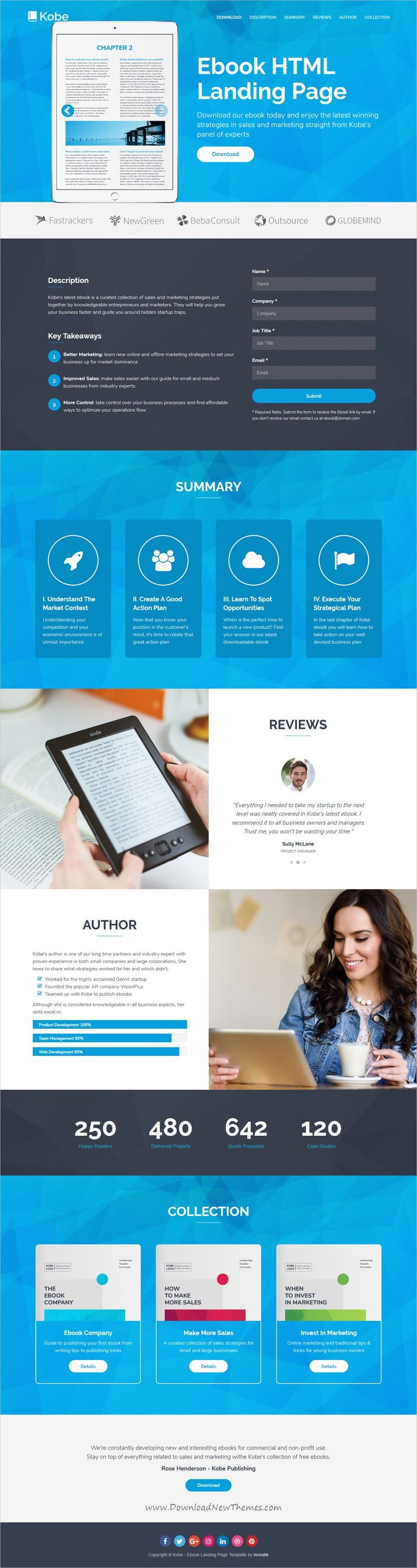 Kobe is clean and modern design responsive #HTML5 template for ebook #landingpage website with 6 homepage layouts with working download form download now..