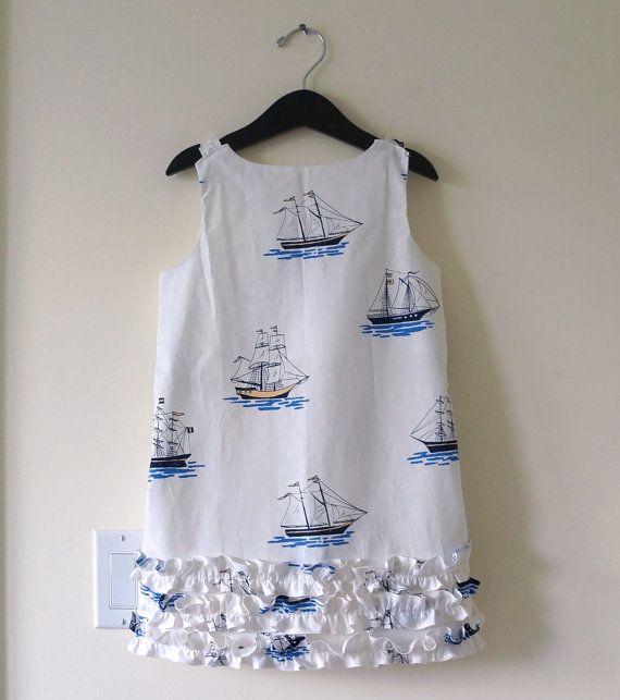 Sailboats & Ruffles, Girls Sundress, Nautical Beach Dress, Ruffle Party Dress, Sailor Dress    Palm Valley Kids