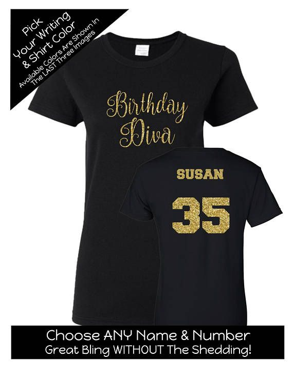 Script Birthday Diva Shirt With ANY AGE And NAME Personalize