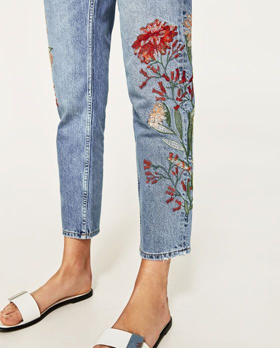 EMBROIDERED FLORAL JEANS from Zara