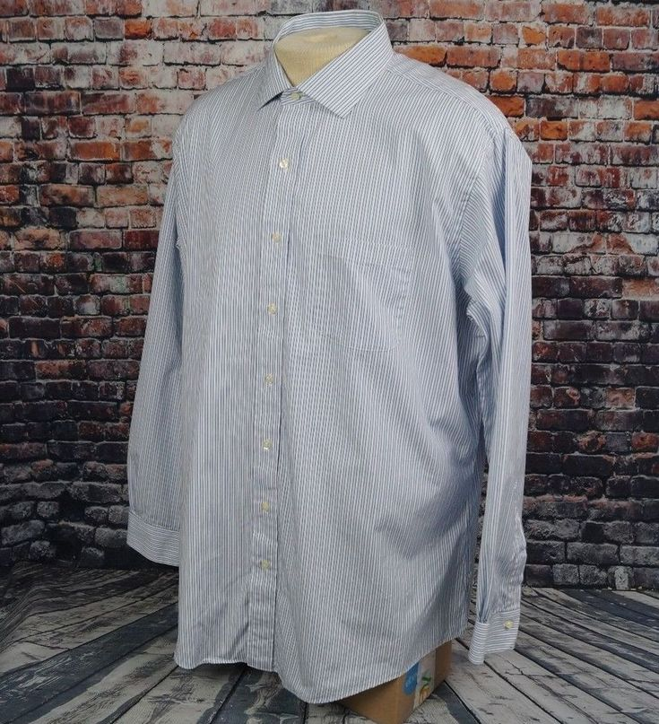 Brooks Brothers Slim Fit Dress Shirt All Cotton Blue White Striped Mens 18 37 #BrooksBrothers