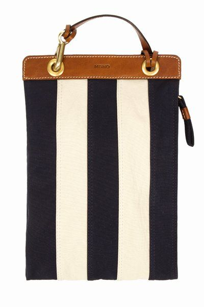 Mismo: supply bag - black and white stripes with camel leather trim