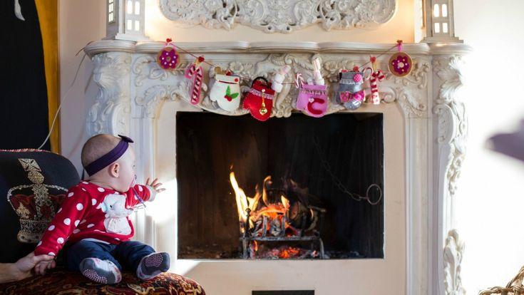DIY fireplace garland project