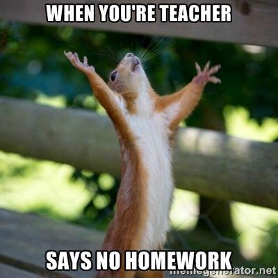 when you're teacher says no homework - Praising Squirrel | Meme ...