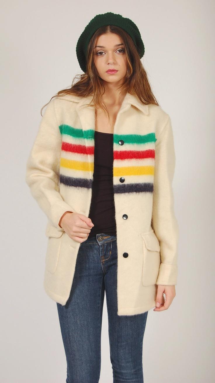 Vintage 70s HUDSON BAY Jacket Wool RAINBOW Colorblock Blanket Coat. via Etsy.