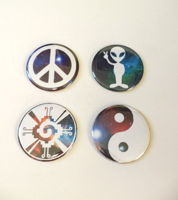 SET OF 4 Outer Space Grunge Psychedelic Pinback Buttons OR Magnets by MAGICbyAnnaPanda, $10.00